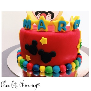red mickey cake side